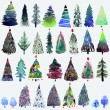 Big collection of watercolor Christmas tree isolated on a white background. — Vector de stock  #78524034