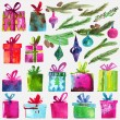 Watercolor Christmas set with gift boxes, holly branches and toys isolated on white background. — Stock Vector #78524058