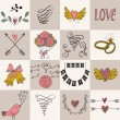 Set of icons for Valentines day, Mothers day, wedding, love and romantic events. — Stock Vector #78531692