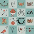 Set of icons for Valentines day, Mothers day, wedding, love and romantic events. — Stock Vector #78531704
