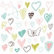 Beautiful hand drawn set of different hearts. Doddle style. Set of valentine hearts for your design — Stock Vector #78532242