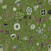 Vector floral seamless pattern with abstract  flowers and leaves. — 图库矢量图片