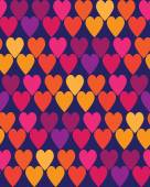 Seamless vintage love heart background in bright colors. — Vetor de Stock