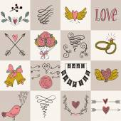 Set of icons for Valentines day, Mothers day, wedding, love and romantic events. — Stock Vector
