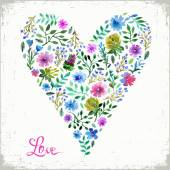 Vector illustration of watercolor floral heart and text love. Colorful floral heart. Love or spring card. — Stock Vector