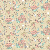 Abstract elegance seamless pattern with hand drawn flowers. — Stockvektor