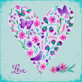 Vector illustration of watercolor floral heart and text love. — Stock Vector