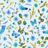 Watercolor seamless pattern with flowers, leaves, birds and butterfly. — Stock Vector