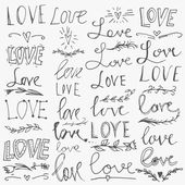 Set of hand-written words. Love lettering. Vector text for your design isolated on white background. — Stockvector