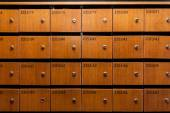 Wooden Mailboxes with number — 图库照片