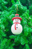 Snowman Ornament on Christmas Tree — Stok fotoğraf