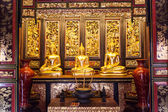 Three Golden Buddha Statue Inside Thai Temple — Stock Photo