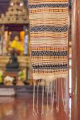 Close-up colorful fabric in Lanna temple — Stock Photo