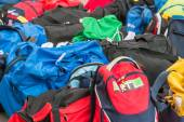 Group of disordered Modern sport bag — Stock Photo
