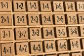 Educational wooden multiplication table — Stock Photo