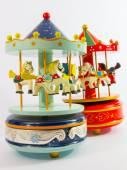 Two merry-go-round horse carillon — Stock Photo