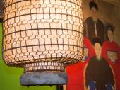 Paper japanese lantern, canvas in background — 图库照片