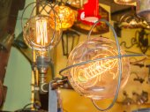 Old carbon light bulb Filament — Stock Photo