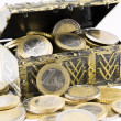 Treasure chest filled with coin, euro currency — Stock Photo #60028911