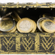 Treasure chest filled with coin, euro currency — Stock Photo #60535287
