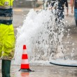 Road spurt water beside traffic cones and a technician — Stock Photo #60815511