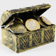 Treasure chest filled with coin, euro currency — Stock Photo #60815571