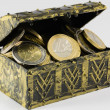 Treasure chest filled with coin, euro currency — Stock Photo #61313303