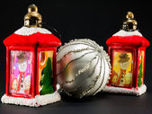Red lanterns with snowman and children decoration and bright chr — Photo