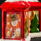 Red xmas lanterns with snowman and children decoration — Photo