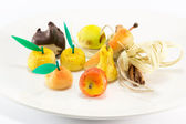 Sweet marzipan fruit candies dessert — Stock Photo