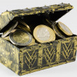 Treasure chest filled with coin, euro currency — Stock Photo #62042177