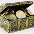 Treasure chest filled with coin, euro currency — Stock Photo #62323879