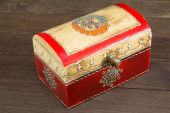 Colorful wooden jewel box ethnic style — Foto Stock