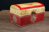 Colorful wooden jewel box ethnic style — Stock Photo