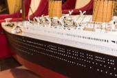 Close up of plastic model ship, titanic — Stock Photo