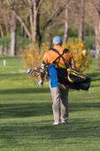 Chubby Man with Golf Bag — Stock Photo