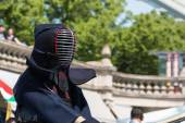 Kendo Fighter in Traditional Clothes with Bamboo Sword — Stock Photo