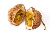 Passionfruit ripe on background — Stock Photo