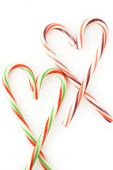 Heart of candy canes  — Stock Photo