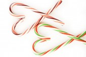 Heart of candy canes isolated on white background — Stock Photo