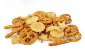 Mixed crackers on white background — Stock Photo