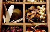 Ingredient for herbal medicine in box — Stock Photo