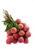 Fresh lychees on white  — Stock Photo