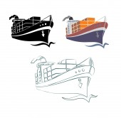 Tanker ship with containers icon set — Stock Vector