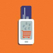 Handy mit Kreditkartenzahlung — Stockvektor
