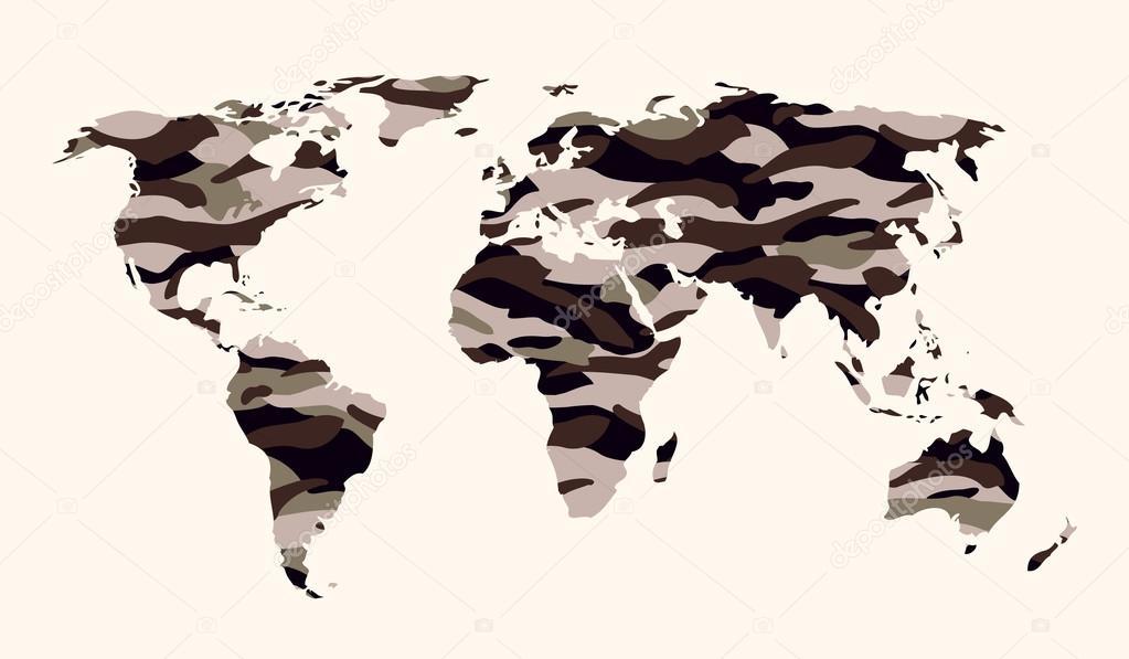 世界地图-砂,灰色迷彩