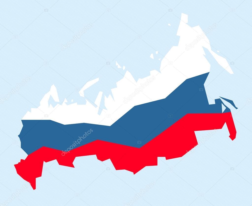 俄罗斯.映射与国旗.矢量图