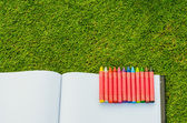 Wax crayons and sketchbook on fresh spring green grass — 图库照片