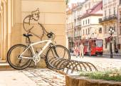 Good solder Schweik protects bicycle parking in Lviv — Stock Photo