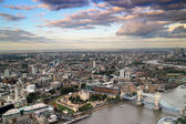 Ariel View London Citycape and Thames River — Stock Photo